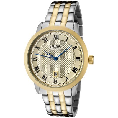 Rotary Watches Men's Two Tone Watch with Champagne Textured Dial