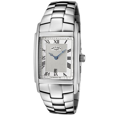 Men's Stainless Steel Watch with Silver Textured Dial