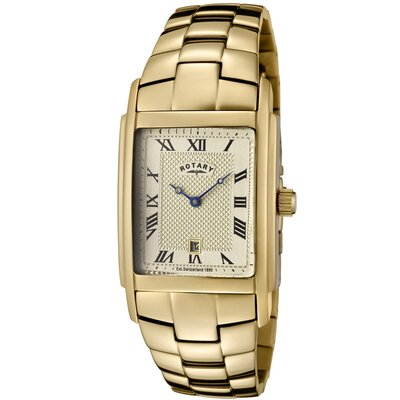 Men's Gold Ion Plated Stainless Steel Watch with Champagne Textured Dial