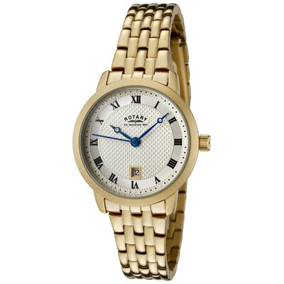 Women's Gold Ion Plated Stainless Steel Watch with Champagne Textured Dial