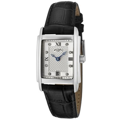 Women's White Swarovski Elements Silver Textured Dial Black Leather Watch