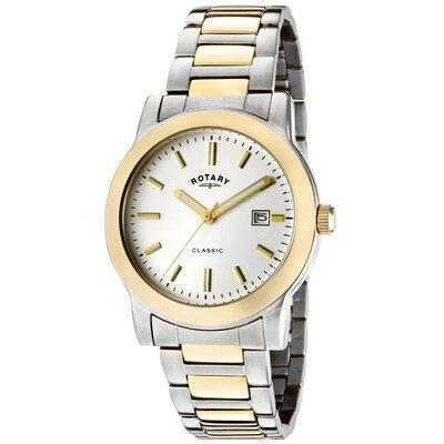 Men's Classic White Dial Two Tone Watch