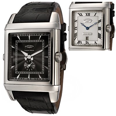 Men's Revelation Reversible Face Black Leather Watch with Silver Textured Dial