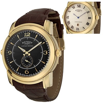 Rotary Watches Men's Revelation Reversible Face Brown Leather Watch