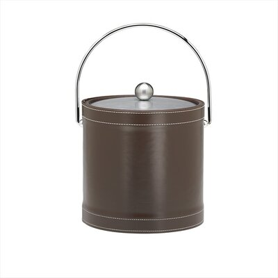 Stitched 3 Qt Ice Bucket with Bale Handle in Chocolate
