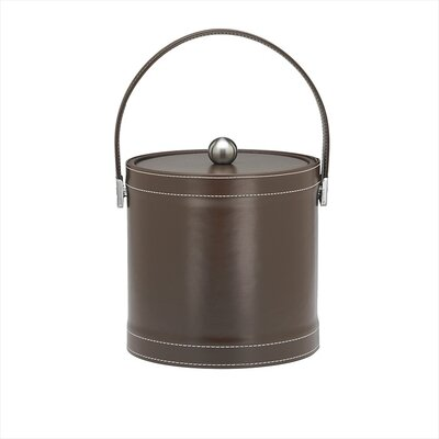 Stitched 3 Qt Ice Bucket with Stitched Handle in Chocolate