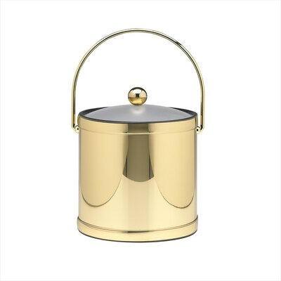Mylar 3 Qt Ice Bucket with Lucite Cover in Polished Brass