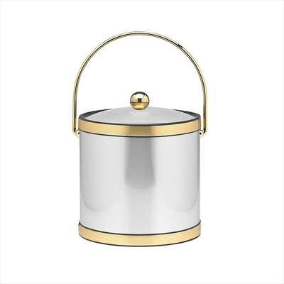 Mylar 3 Qt Ice Bucket with Brass Band in Brushed Chrome