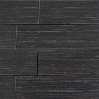 "Kaska Bamboo Series 24"" x 6"" Porcelain Tile in Bamboo Black"