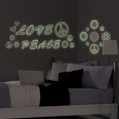 WallPops! Peace Love Flowers Glow in the Dark Wall Art Kit