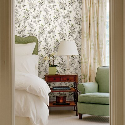 Brewster Home Fashions Zinc Jolie Floral Toss Wallpaper