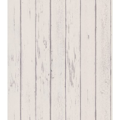 Destinations by the Shore Weathered Wood Plank Wallpaper in Grayed White