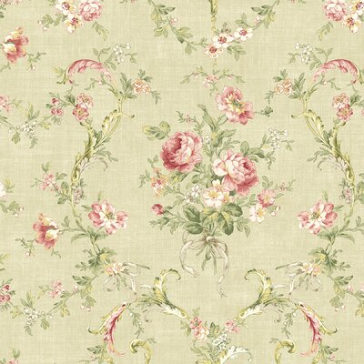 Willow Cottage Floral Bouquet Wallpaper in Khaki