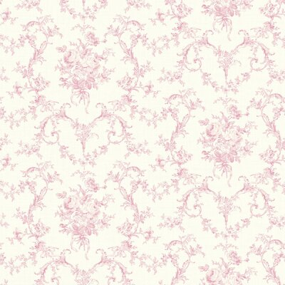 Willow Cottage Petit Toile Floral Bouquet Wallpaper in Pink