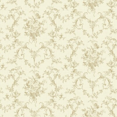 Willow Cottage Petit Toile Floral Bouquet Wallpaper in Sepia