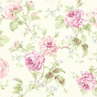 Brewster Home Fashions Willow Cottage Rose Trail Wallpaper in Pink / White