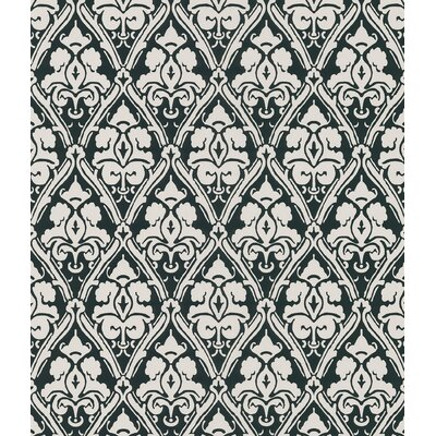 Echo Design Echo Damask Wallpaper in Cream / Black