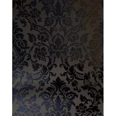 Savoy Damask Wallpaper in Tonal Black Shiny