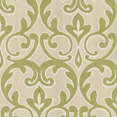 Brewster Home Fashions Salon Outline Damask Wallpaper in Metallic Lime Green