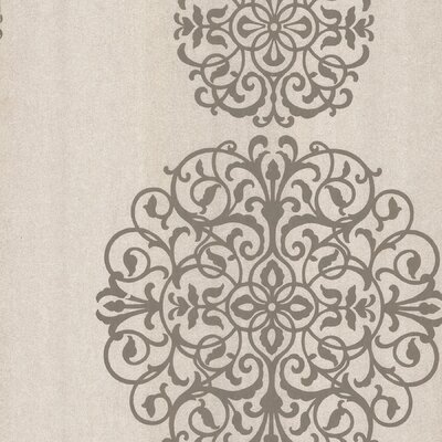 Salon Medallion Stripe Wallpaper in Tonal Beige