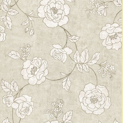 Brewster Home Fashions Serene Rose Wallpaper in Shell White / Gold / Creamed Beige