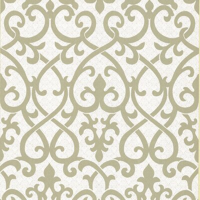 Brewster Home Fashions Serene Ironwork Damask Wallpaper in Olive