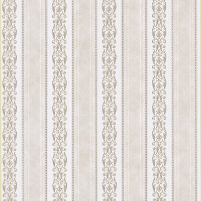 Satin Rose Scroll Stripe Wallpaper in Tonal Neutral
