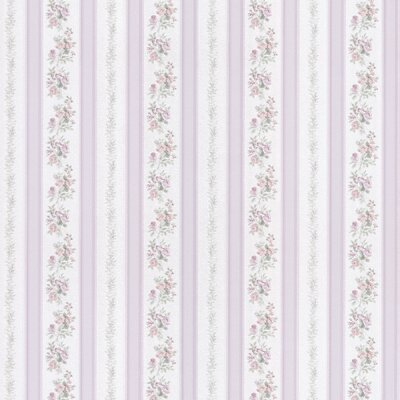 Satin Rose Linen Floral Stripe Wallpaper in Baby Harlequin
