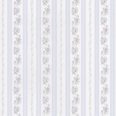 Satin Rose Linen Floral Stripe Wallpaper in Silvered Blue Tonal Harlequin