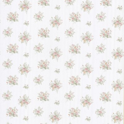 Brewster Home Fashions Satin Rose Floral Toss Wallpaper in White