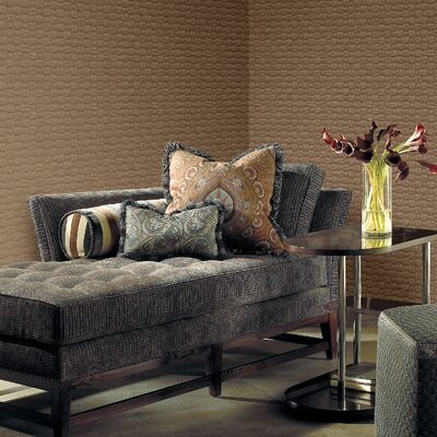 Joseph Abboud Designed Ventana Sablon Wallpaper in Metallic Copper Brown