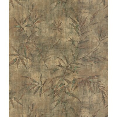 Brewster Home Fashions Destinations by the Shore Bamboo Leaf Letter Wallpaper in Copper / Green