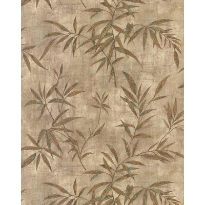 Destinations by the Shore Bamboo Leaf Letter Wallpaper in Light Copper / Green