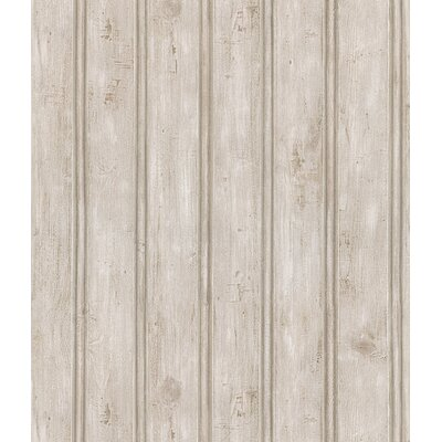 Northwoods Wood Plank Stripe Wallpaper in Painted Gray