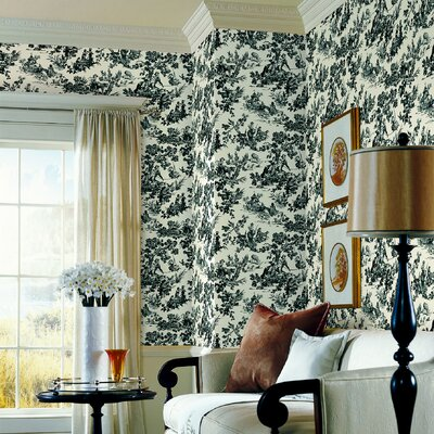Brewster Home Fashions Ink Toile Wallpaper