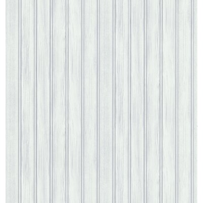Northwoods Wood Plank Stripe Wallpaper in Off-White