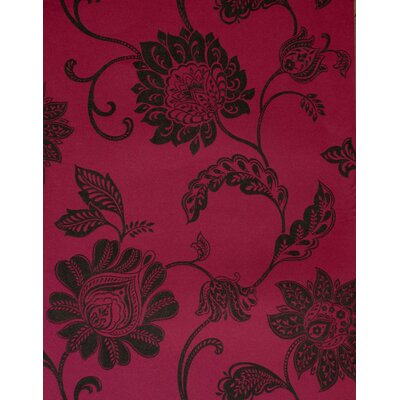 Savoy Jacobean Trail Wallpaper in Black / Hot Pink