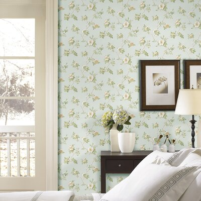 Brewster Home Fashions Satin Rose Magnolia Trail Wallpaper