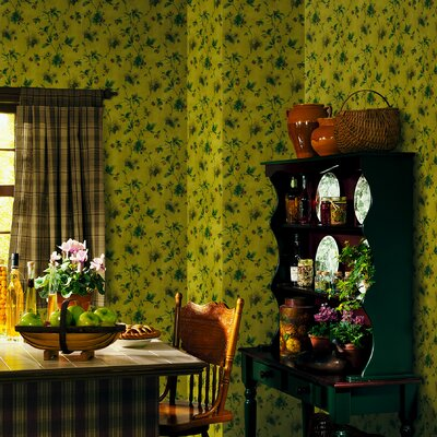 Northwoods Pine Cone Trail Wallpaper in Yellow