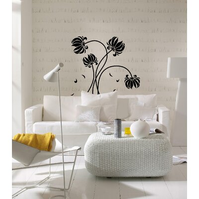 Euro Black Flowers Wall Decals
