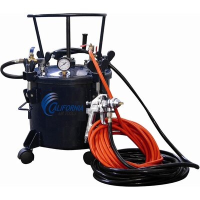 California Air Tools 5 Gallon Pressure Pot with HVLP Spray Gun and Hose