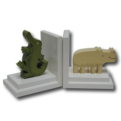 One World Crocodile / Rhino Bookends with White Base