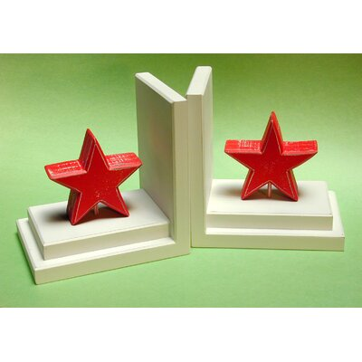 One World Red Star Book Ends with Distressed White Base