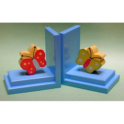 One World Red / Green Butterfly Bookends with Sky Base