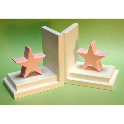 One World Pastel Pink Star Bookends with White Base