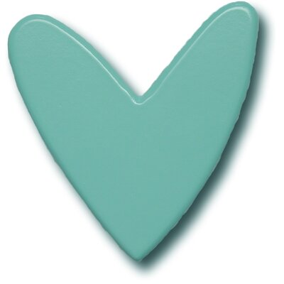 Modern Heart Drawer Knob in Aqua