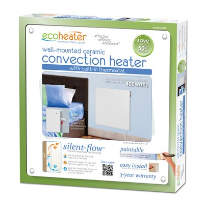 Eco-Heater 400 Watt Ceramic Convection Flat Panel Space Heater