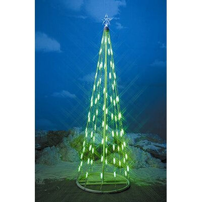 Homebrite Solar String Light Christmas Cone Tree in Green