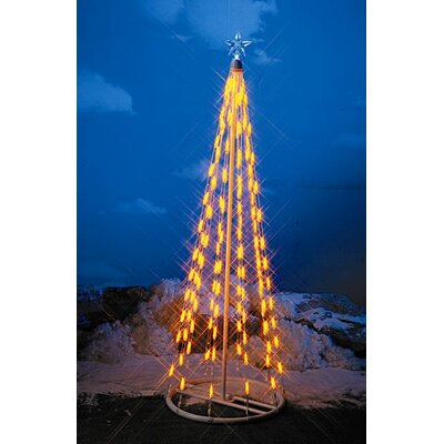 "Homebrite Solar 49"" String Light Christmas Cone Tree in Yellow"