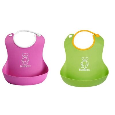 BabyBjorn Soft Bib in Pink / Green (Set of 2)